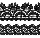 Black openwork lace seamless border. Stock Image