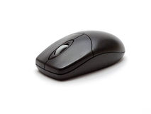 Black optical computer mouse Stock Photo