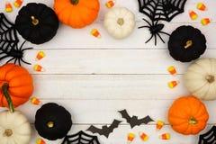 Free Black, Orange And White Halloween Frame Over White Wood Stock Image - 126445591