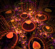 Black and orange background. Fractal hearts flying in dark space. Pink circles of water drops. Dotted rays beam from surface. 3d render Stock Illustration