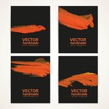 Black and orange brush texture banners Stock Photography