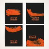 Black and orange brush texture banners 2 Stock Images