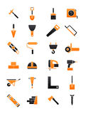 Black-orange contruction icons set. Set of 24 black-orange construction icons Royalty Free Stock Photos
