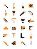 Black-orange contruction icons set Royalty Free Stock Photos