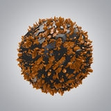 Black And Orange. 3D render of black and orange sphere stock photography