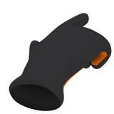 Black and orange gloves. Forefinger shows Stock Photography