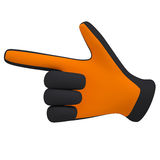 Black and orange gloves. Forefinger shows Stock Photo