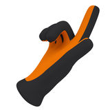 Black and orange gloves. Forefinger shows Royalty Free Stock Photos