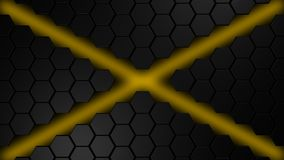 Black and orange hexagons modern background 3d render. Illustration Royalty Free Stock Photography