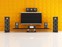 Black and orange home theater Stock Images