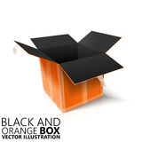 Black and orange open box 3D/  illustration Stock Photo
