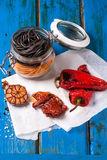 Black and orange pasta with grilled vegetable Stock Image