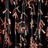 Black orange strip ribbons of St George on forged decorative gat Royalty Free Stock Photography