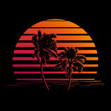 Black and orange stripes logo with palm trees Royalty Free Stock Image