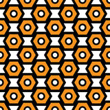 Black, orange and white vector seamless abstract mechanic cell vintage texture Royalty Free Stock Photo