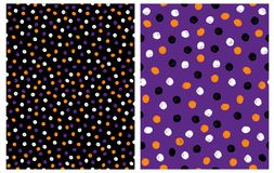Set of 2 Abstract Seamless Vector Patterns with Hand Drawn Irrgegular Dots on a Black and Violet Background. vector illustration