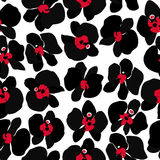 Black Orchid, seamless pattern Stock Photo