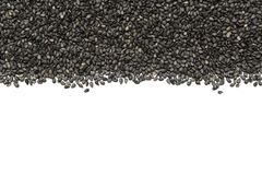 Black organic sesame seeds stock image