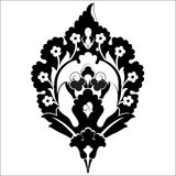 Black oriental ottoman design forty six. Versions of Ottoman decorative arts, abstract flowers vector illustration