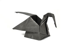 Black origami swan Royalty Free Stock Image