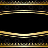 Black ornamental vector background with golden decorations. Black ornamental background with golden decorations - vector Stock Photo
