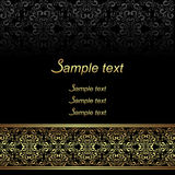Black ornamental Background with golden ornate Border. Stock Images