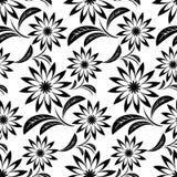 Black ornamental Flower Pattern on white Royalty Free Stock Images