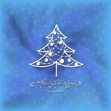 Black ornamental tree. Stylized ornamental christmas tree on blue background Royalty Free Stock Photos