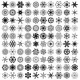100 black ornaments. 100 black symmetrical ornaments over white background Stock Photos