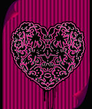 Black ornate emo heart Royalty Free Stock Photography
