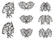 Black ornate horse head symbols Royalty Free Stock Image