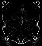 Black ornate illustration. Black decoration frame with floral ornate Stock Photo