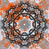 Black ornate mandala with orange splashes. Vector Royalty Free Stock Photography