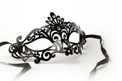 Black Ornate Masquerade Mask on White Background Royalty Free Stock Image