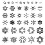 38 black ornate snowflakes isolated on white background. Stock Photo