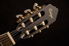 Black Ortega Guitar Headstock Stock Image