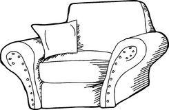 Black Outline Armchair Royalty Free Stock Photo