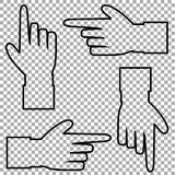 Vector set of hand cursor pictograms isolated on transparent background. Black outline contour silhouette of hand with pointing or showing in various directions Royalty Free Stock Image