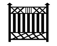 Black outline of a fence. 3d image on white background Royalty Free Stock Photos