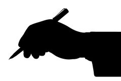 Black outline of the hand holding a pen Royalty Free Stock Photography