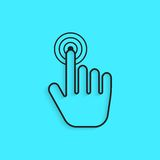 Black outline hand icon press with shadow Royalty Free Stock Photos