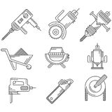 Black outline icons for construction equipment Royalty Free Stock Photo