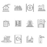 Black outline icons for rent real estate Stock Images