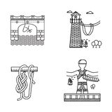 Black outline icons for rope jumping Royalty Free Stock Photo