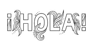 Black outline isolated hand drawn decorative word in spanish language. Line lettering phrase, handmade print poster on white backg Royalty Free Stock Photo