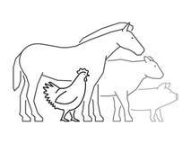 Black outline logo for farmers market. Farm animals logo. Stock Photo