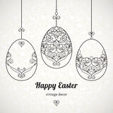 Black outline ornamental eggs for Easter design. Royalty Free Stock Image