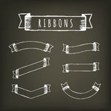 Black outline pencil ribbons Stock Photos