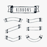 Black outline pencil ribbons Royalty Free Stock Images