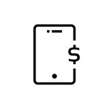 Black outline phone with dollar sign. Concept of nfc, ui, debit, receive income, global wallet, balance, retail, credit. flat style trend modern logotype Stock Photos
